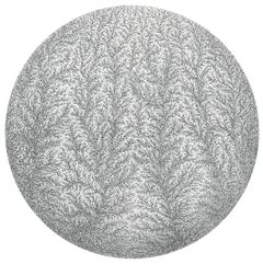 """""""Fractal 1"""", Vertical Fractal-Like Growth Structures Circular Ink Drawing"""