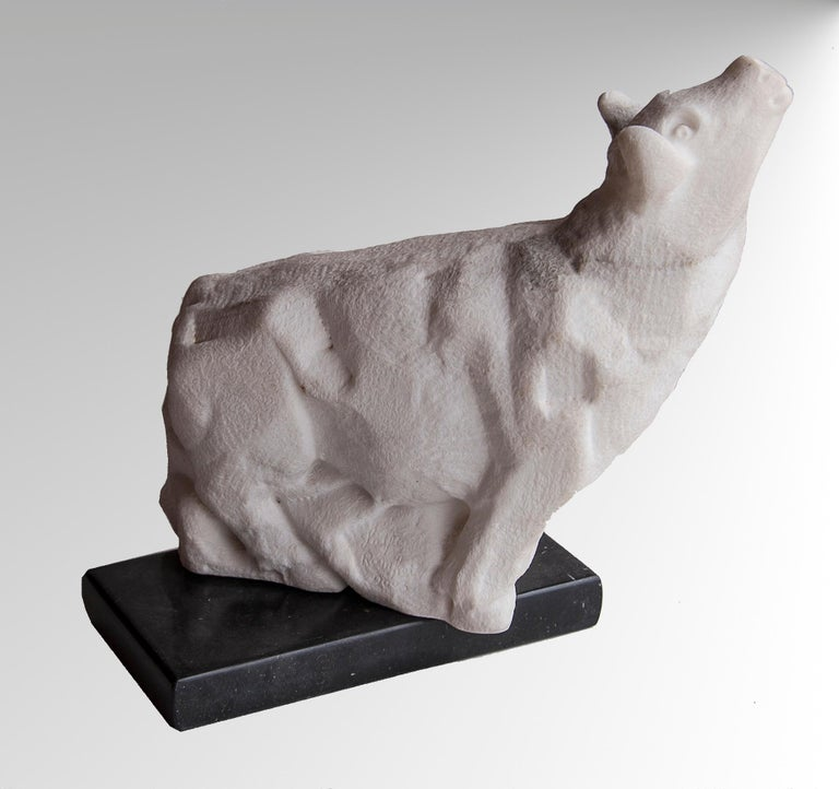 This sculpture depicts a bellowing bull, full of strength and muscular power.  This artwork was made in direct cuts, then the bull's hair were finished using a smal power tool.  It is not polished.  The separated base is made of black veined