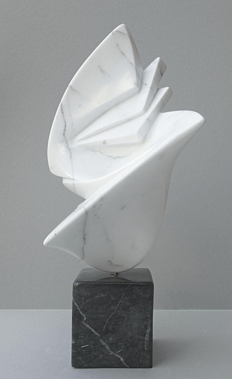 Getaway, Sensual White Carrara Marble Abstract Sculpture on Black Marble Base For Sale 1