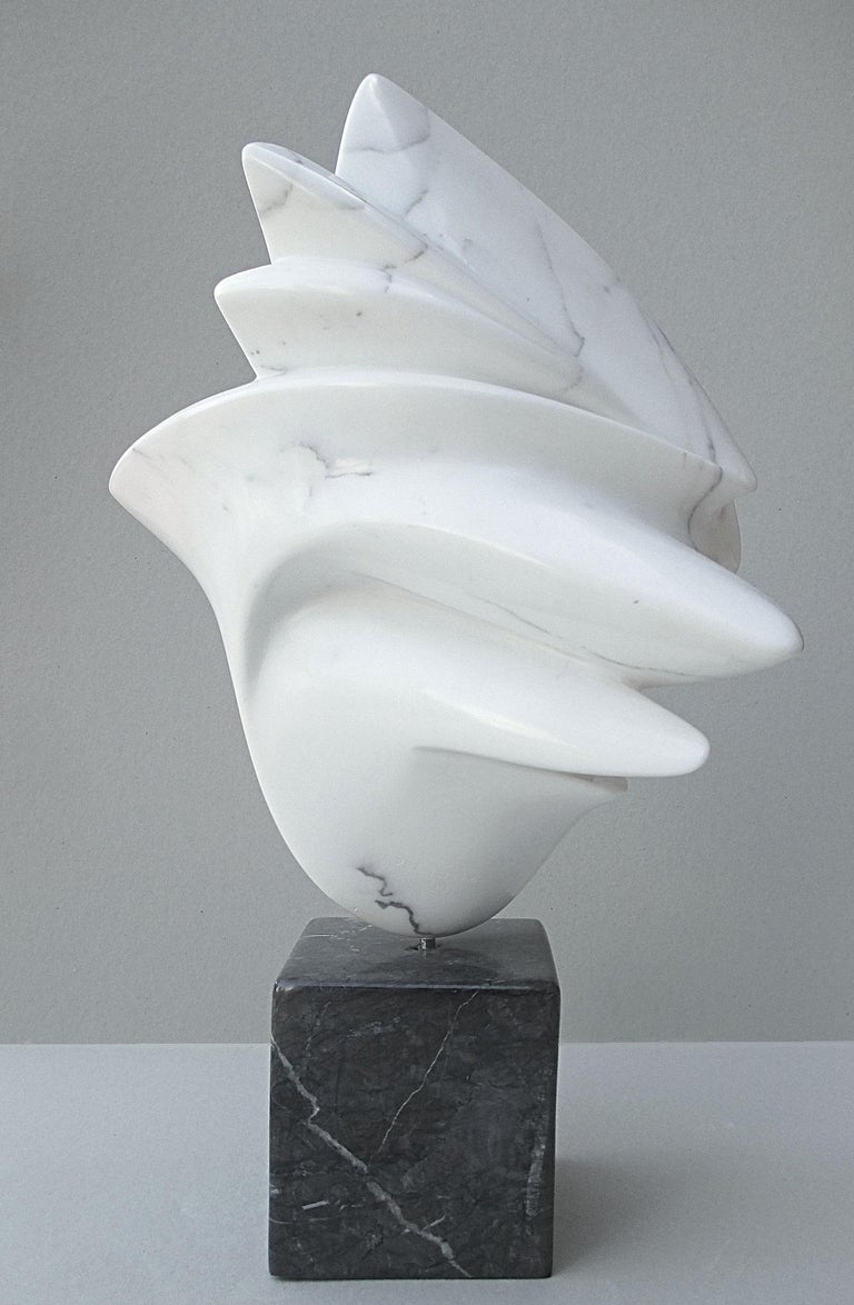 Getaway, Sensual White Carrara Marble Abstract Sculpture on Black Marble Base For Sale 3