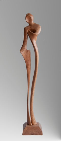 Detours, Standing Man Oak Wood Figurative Abstract Sculpture