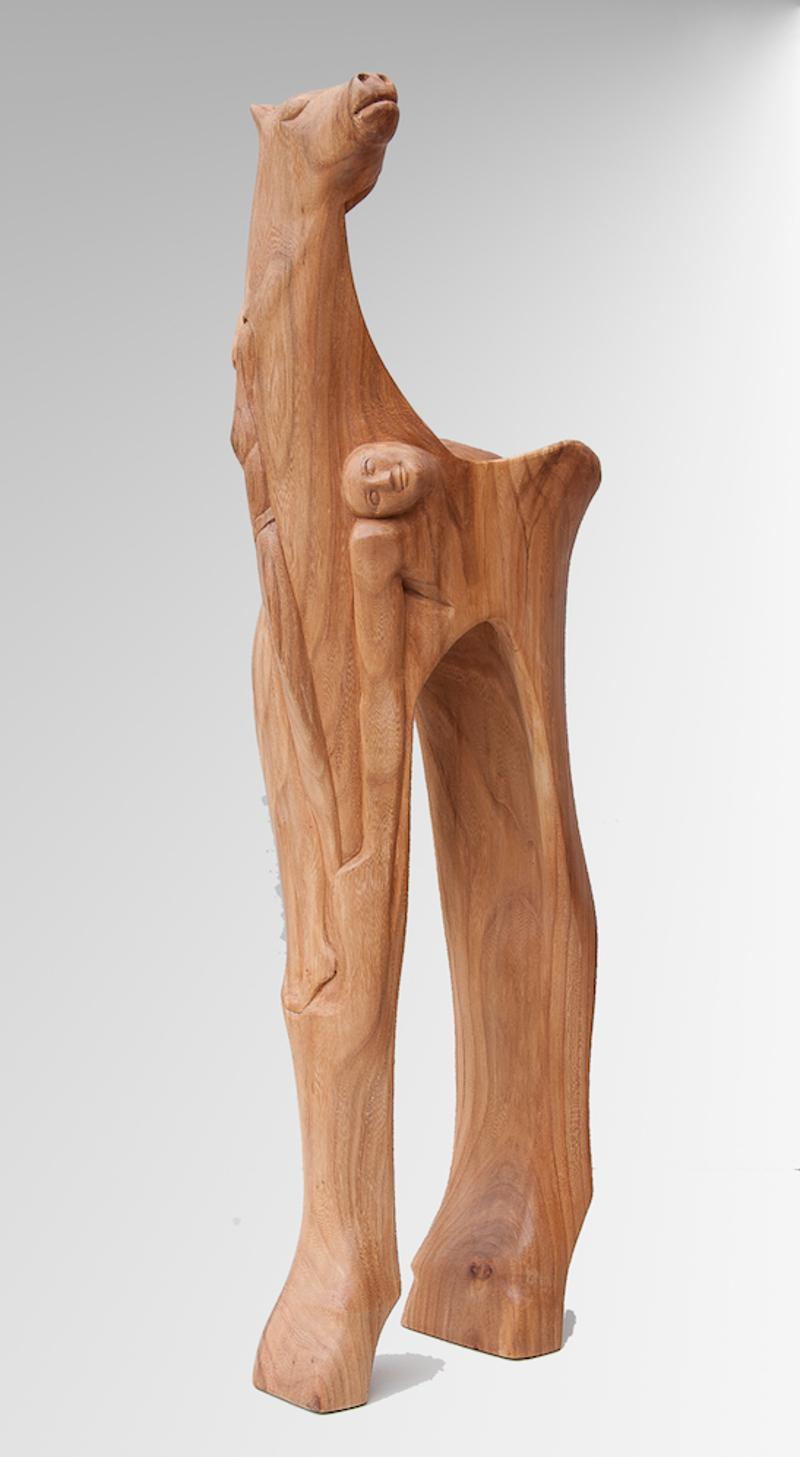 """""""Fantastic Ride"""", Elm Wood Human-Carved Horse Figurative Abstract Sculpture"""