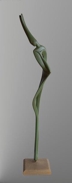 Liana, Green Sensual Slender Oak Wood Figurative Abstract Sculpture