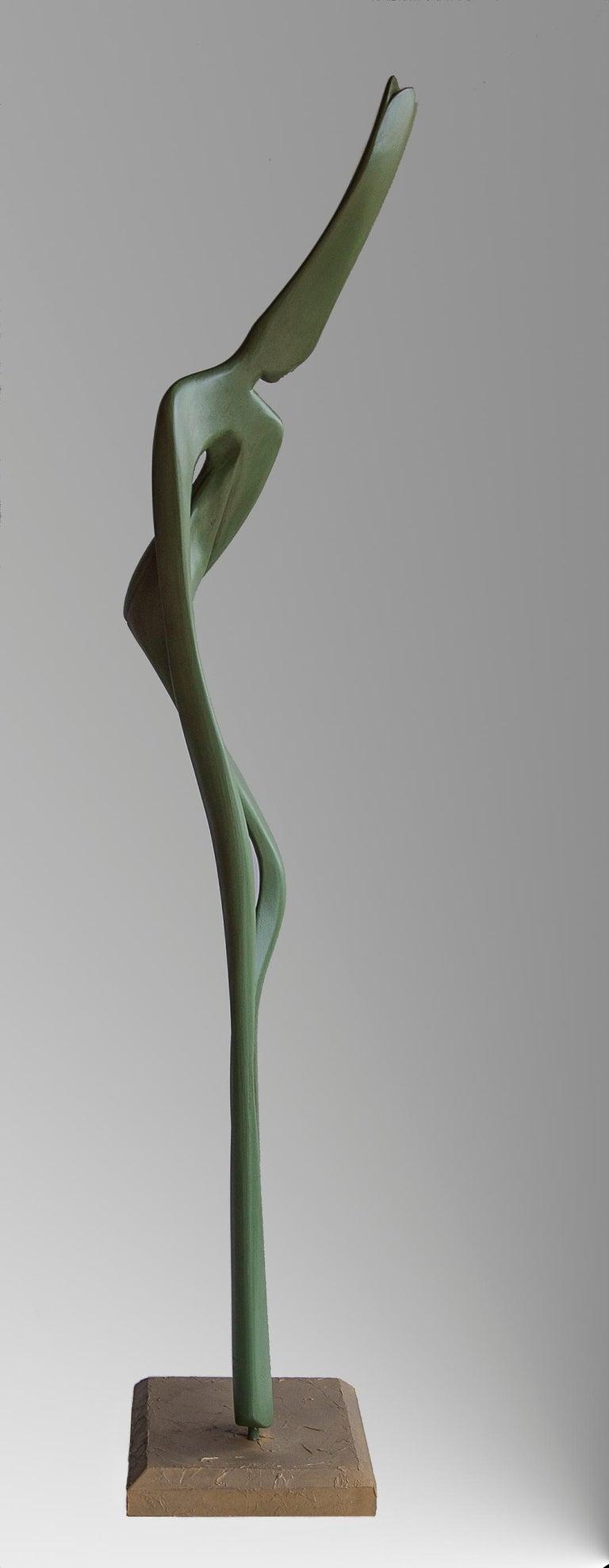 Liana, Green Sensual Slender Oak Wood Figurative Abstract Sculpture For Sale 4