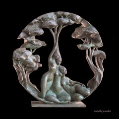"""Gynaeceum"" , Three Nude Embracing Women With Trees Circular Bronze Sculpture"