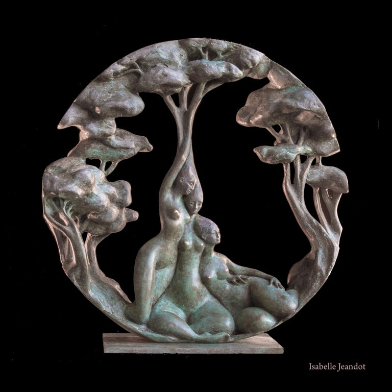 "Isabelle Jeandot Figurative Sculpture - ""Gynaeceum"" , Three Nude Embracing Women With Trees Circular Bronze Sculpture"