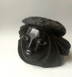 """Head & Hat"", Figurative Black Marble Female Figure Sculpture"