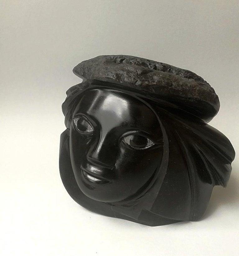 "Lutfi Romhein Abstract Sculpture - ""Head & Hat"", Figurative Black Marble Female Figure Sculpture"