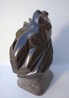 """""""Buste Emporté"""", Sensual Black Marble Nude Female Bust Figurative Sculpture"""