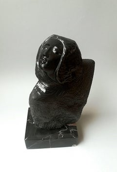 """""""Bust of a Woman"""", Figurative Sculpture Black Marble Female Bust"""
