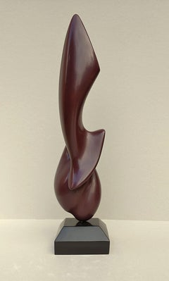 """Sublime"", Sensual Dark Red Oak Wood Abstract Sculpture"