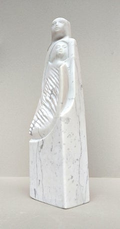 The Source, White Carrara Marble Stone Vertical Figurative Sculpture