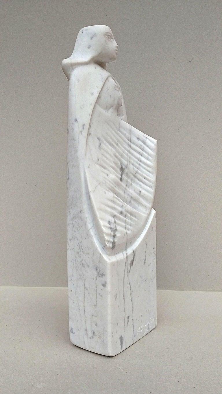 The Source, White Carrara Marble Stone Vertical Figurative Sculpture For Sale 2