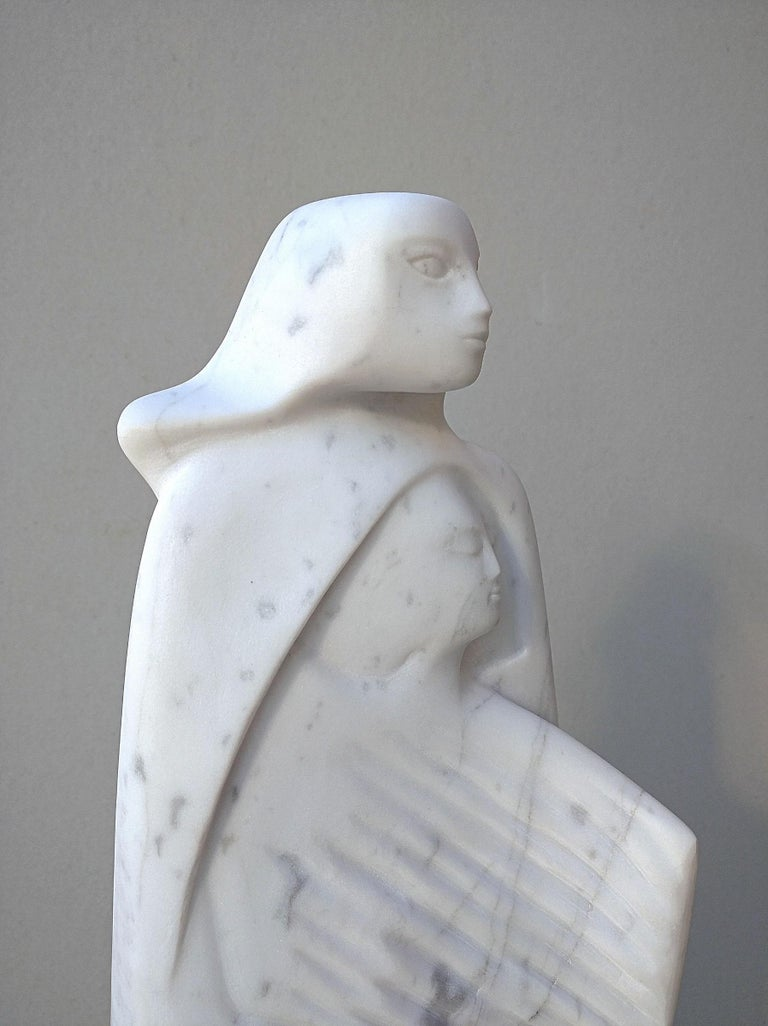 The Source, White Carrara Marble Stone Vertical Figurative Sculpture For Sale 11