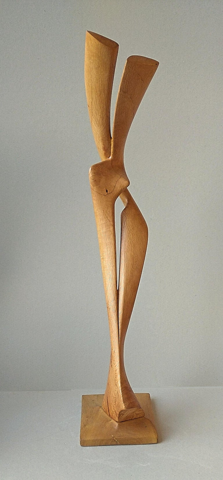 Virtuoso, Standing Oak Wood Pure Lines Abstract Sculpture For Sale 2