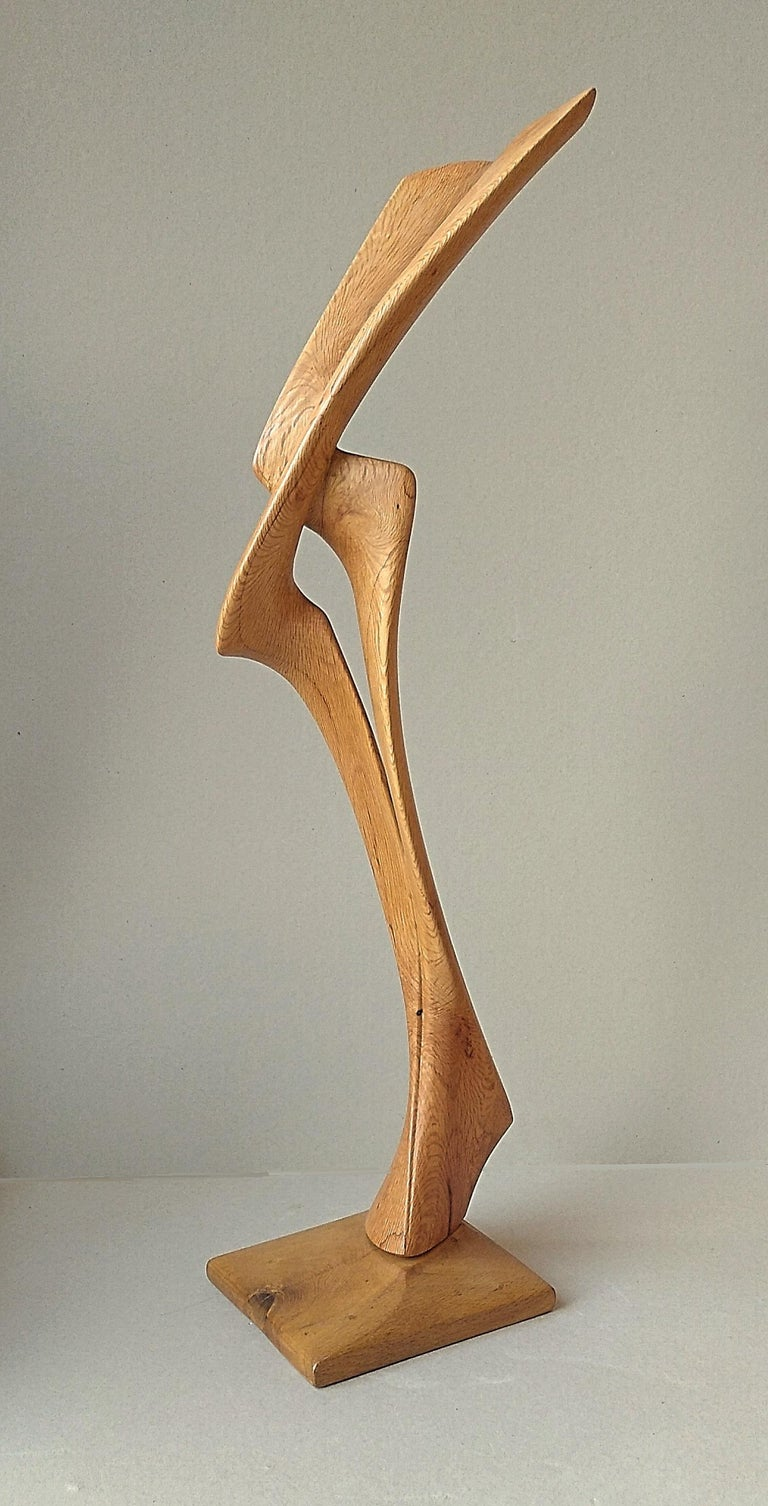 Virtuoso, Standing Oak Wood Pure Lines Abstract Sculpture For Sale 3