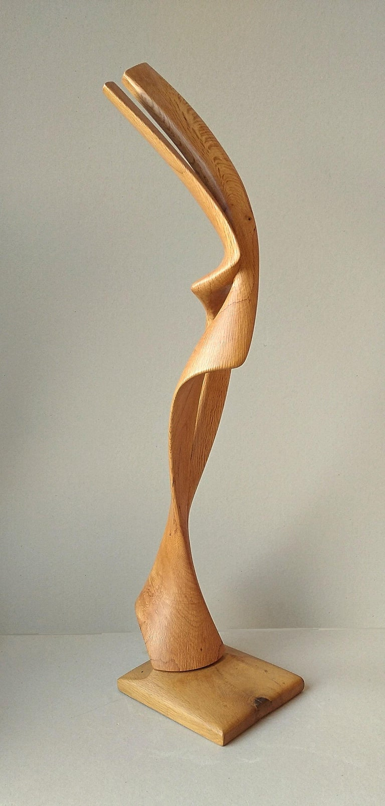 Virtuoso, Standing Oak Wood Pure Lines Abstract Sculpture For Sale 4
