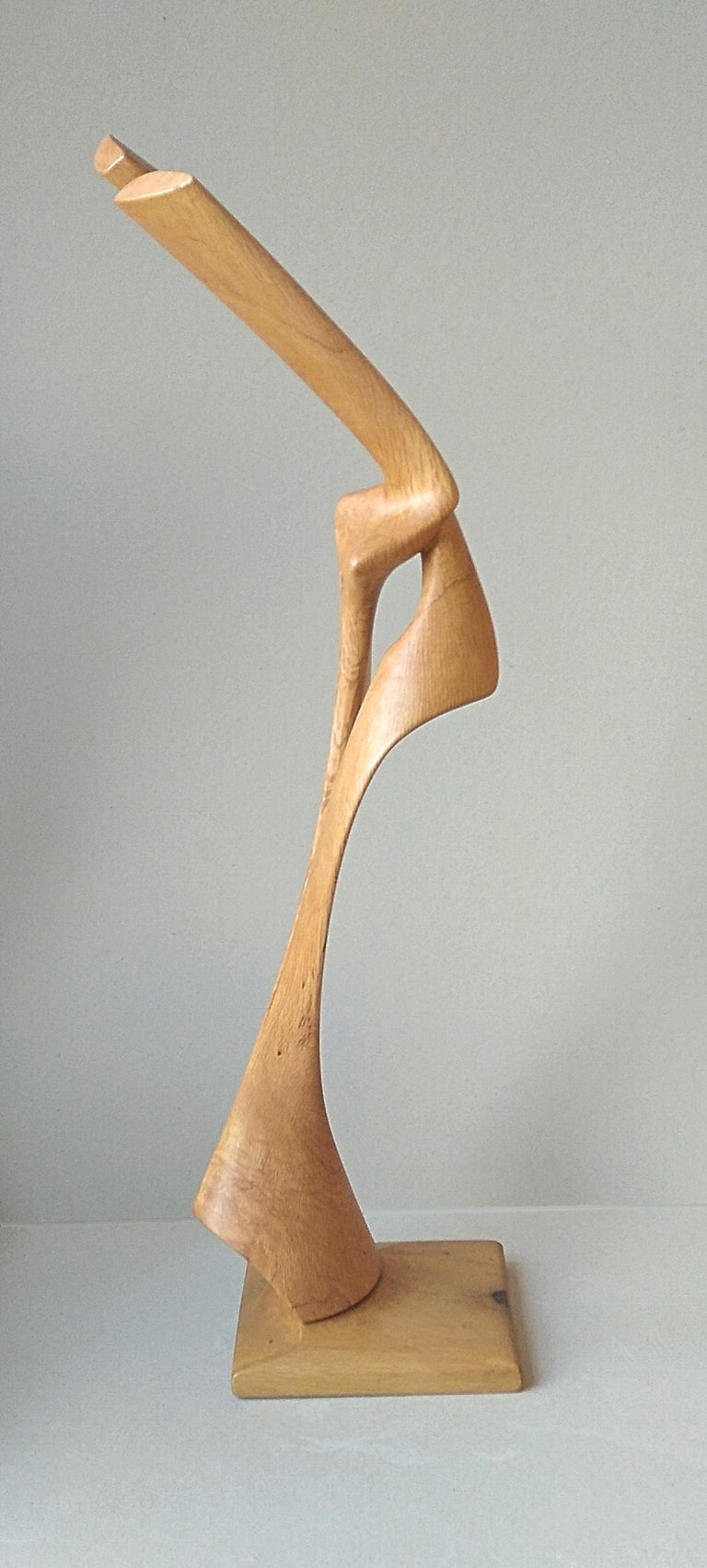 Virtuoso, Standing Oak Wood Pure Lines Abstract Sculpture For Sale 5