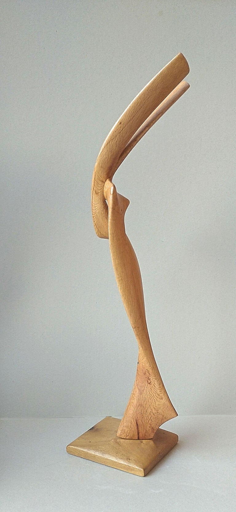 Virtuoso, Standing Oak Wood Pure Lines Abstract Sculpture For Sale 6