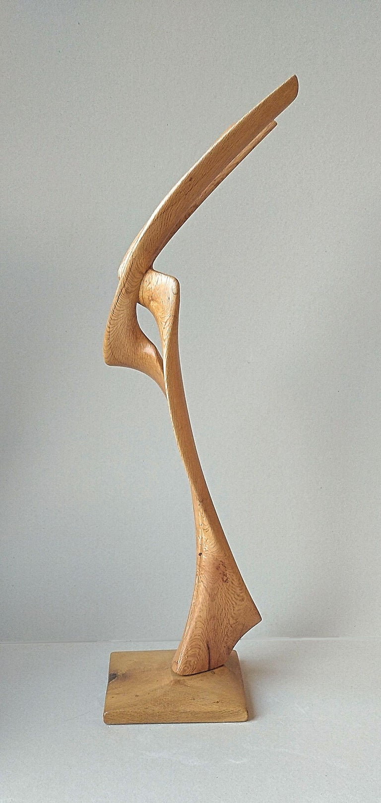 Virtuoso, Standing Oak Wood Pure Lines Abstract Sculpture For Sale 7