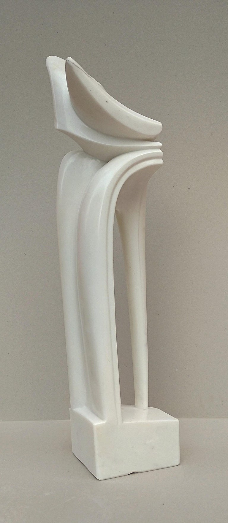 Arch, Sensual White Carrara Statuary Marble Stone Vertical Figurative Sculpture For Sale 4