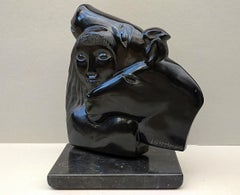 Woman Rider & Horses,  Mirror Polished Black Marble Busts Figurative Sculpture