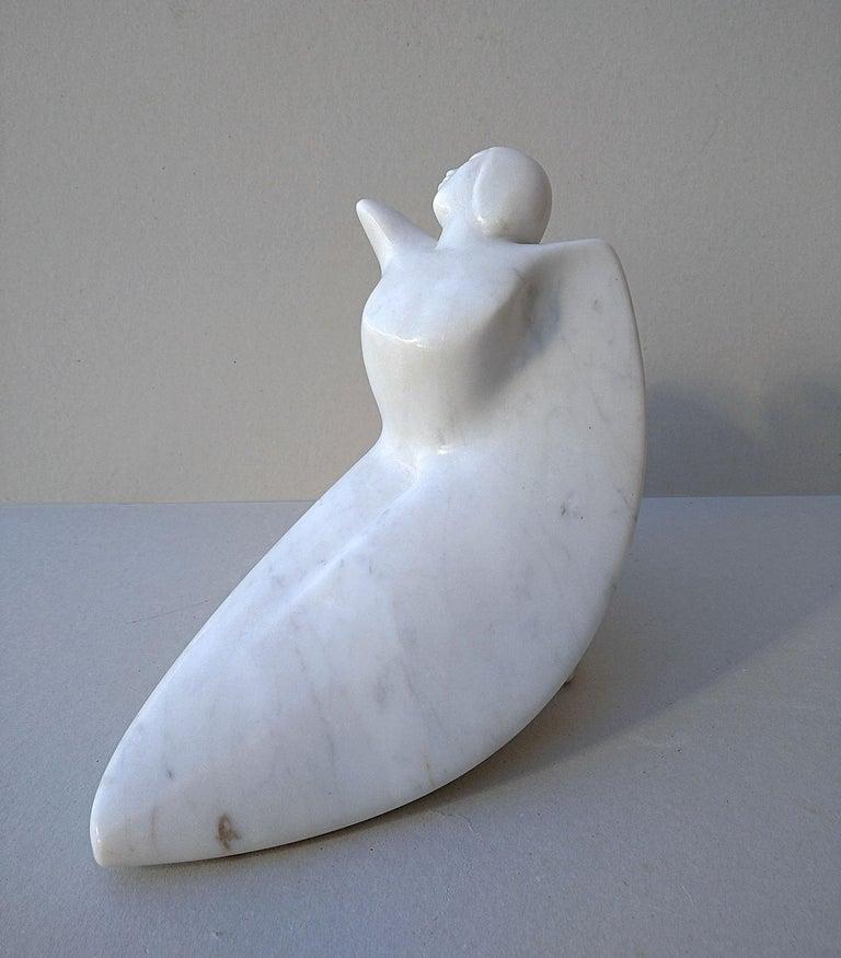 Paloma, Figurative Winged Woman Sensual White Carrara Statuary Marble Sculpture For Sale 2