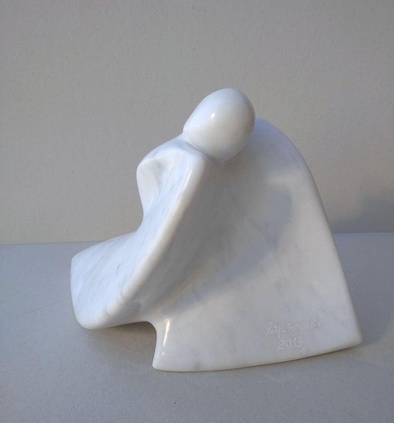 Paloma, Figurative Winged Woman Sensual White Carrara Statuary Marble Sculpture For Sale 4