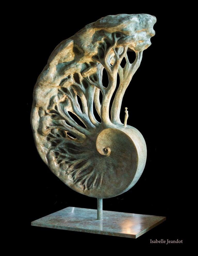 "Isabelle Jeandot Figurative Sculpture - ""Memory"", Man Standing on a Spiral of Trees Figurative Bronze Sculpture"