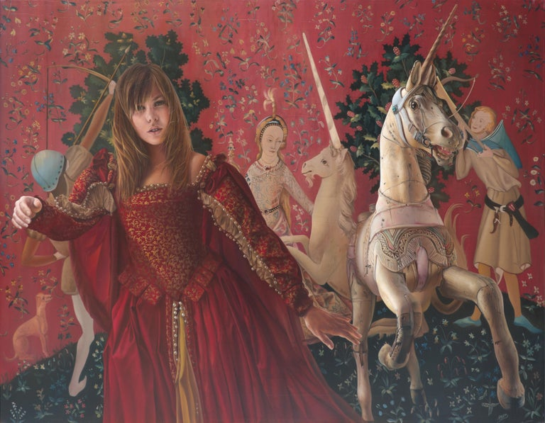 The End of Innocence, Middle Ages Princess with Unicorn Realist Red Oil Painting - Brown Figurative Painting by Andrée Bars