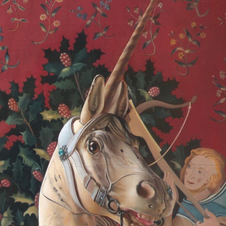 «The End of Innocence»  This unique oil painting by Andrée Bars depicts a Middle Ages young princess (with the face of Jennifer Aniston) in her red wedding dress and a frightened wooden (yet living) unicorn running away.  Andrée Bars was shocked