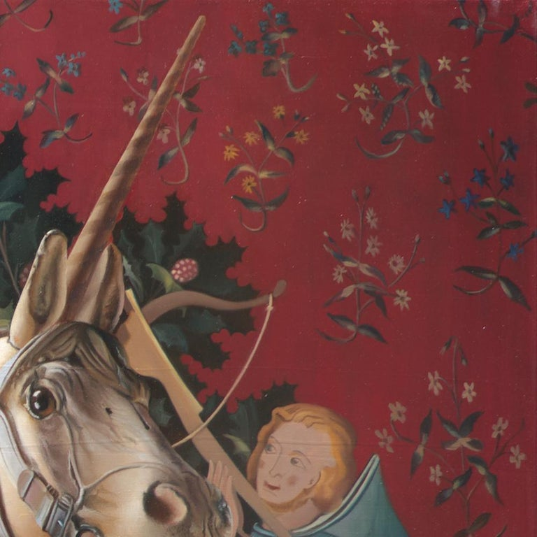 The End of Innocence, Middle Ages Princess with Unicorn Realist Red Oil Painting For Sale 10