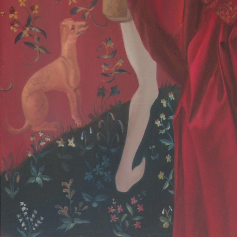 The End of Innocence, Middle Ages Princess with Unicorn Realist Red Oil Painting For Sale 13