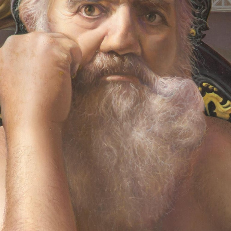 The Mad King, White Bearded Crowned Man Sitting on a Throne Realist Oil Painting For Sale 1
