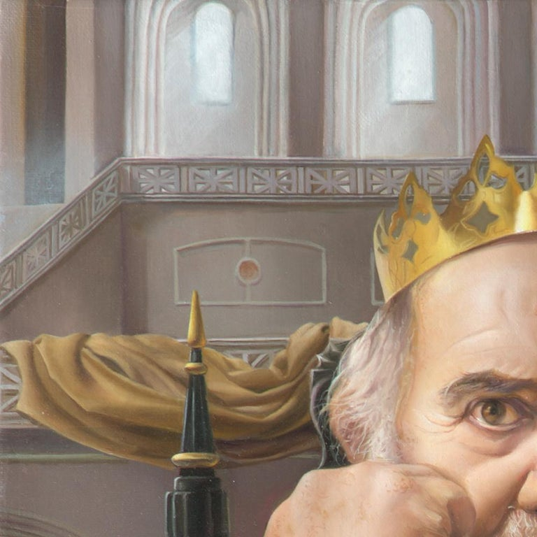 The Mad King, White Bearded Crowned Man Sitting on a Throne Realist Oil Painting For Sale 9