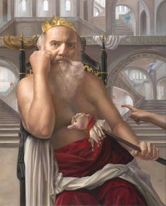 The Mad King, White Bearded Crowned Man Sitting on a Throne Realist Oil Painting