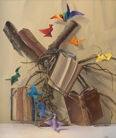 """""""Knowledge Root"""", with Rainbow Colors Origami Cranes, Symbolism Oil Painting"""