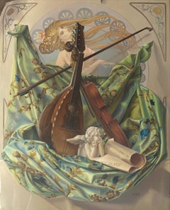 """Core Target"", Violin and Mandolin Music for Love Angle, Symbolism Oil Painting"