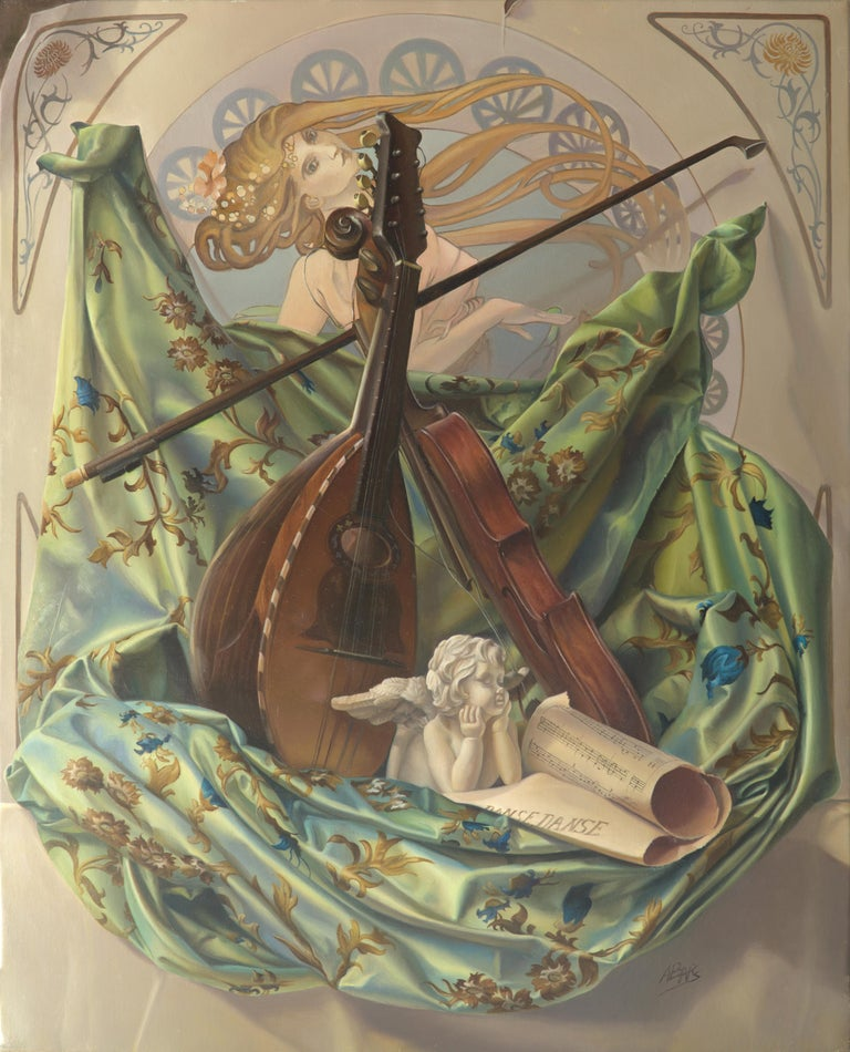 """Andrée Bars Still-Life Painting - """"Core Target"""", Violin and Mandolin Music for Love Angle, Symbolism Oil Painting"""