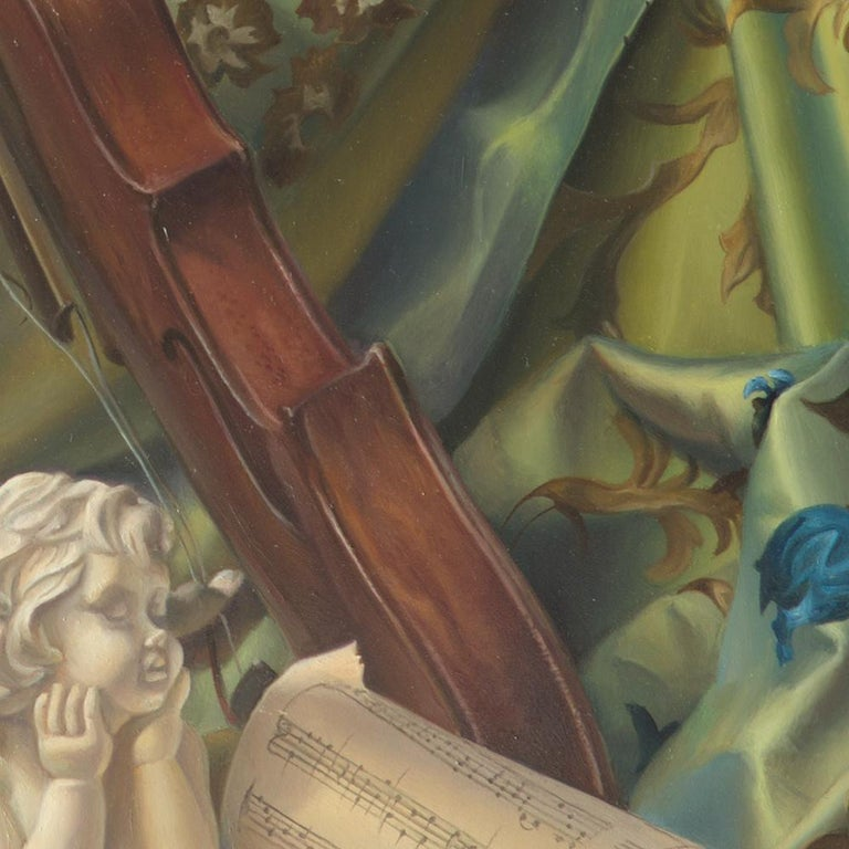 By Andrée Bars, this oil painting is a very brilliant composition, a very lively one like a waltz by Strauss in Vienna. The city of Vienna, the great center of Art Nouveau, underpins the idea of this work. This is why in the background there is a