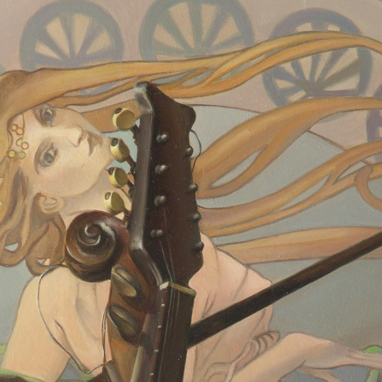 """""""Core Target"""", Violin and Mandolin Music for Love Angle, Symbolism Oil Painting For Sale 1"""