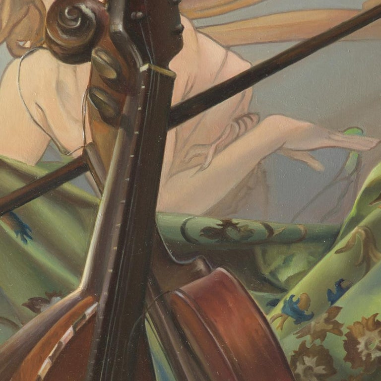 """""""Core Target"""", Violin and Mandolin Music for Love Angle, Symbolism Oil Painting For Sale 6"""
