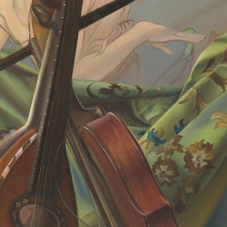 """""""Core Target"""", Violin and Mandolin Music for Love Angle, Symbolism Oil Painting For Sale 7"""