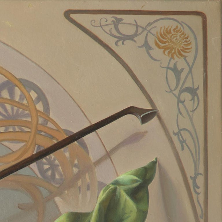 """""""Core Target"""", Violin and Mandolin Music for Love Angle, Symbolism Oil Painting For Sale 11"""