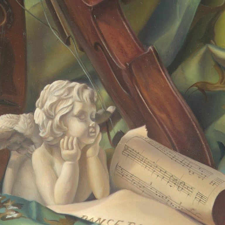 """""""Core Target"""", Violin and Mandolin Music for Love Angle, Symbolism Oil Painting For Sale 5"""