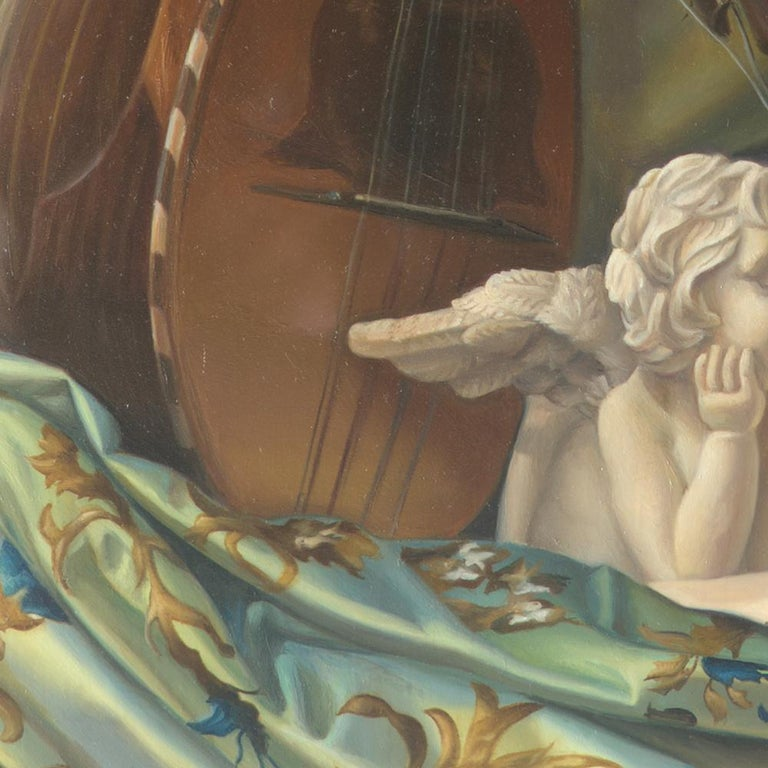 """""""Core Target"""", Violin and Mandolin Music for Love Angle, Symbolism Oil Painting For Sale 2"""