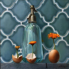 """""""Life"""", of Transparent Water Carafe, Flowers and Eggs,  Symbolism Oil Painting"""