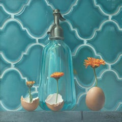 """Life"", of Transparent Water Carafe, Flowers and Eggs,  Symbolism Oil Painting"