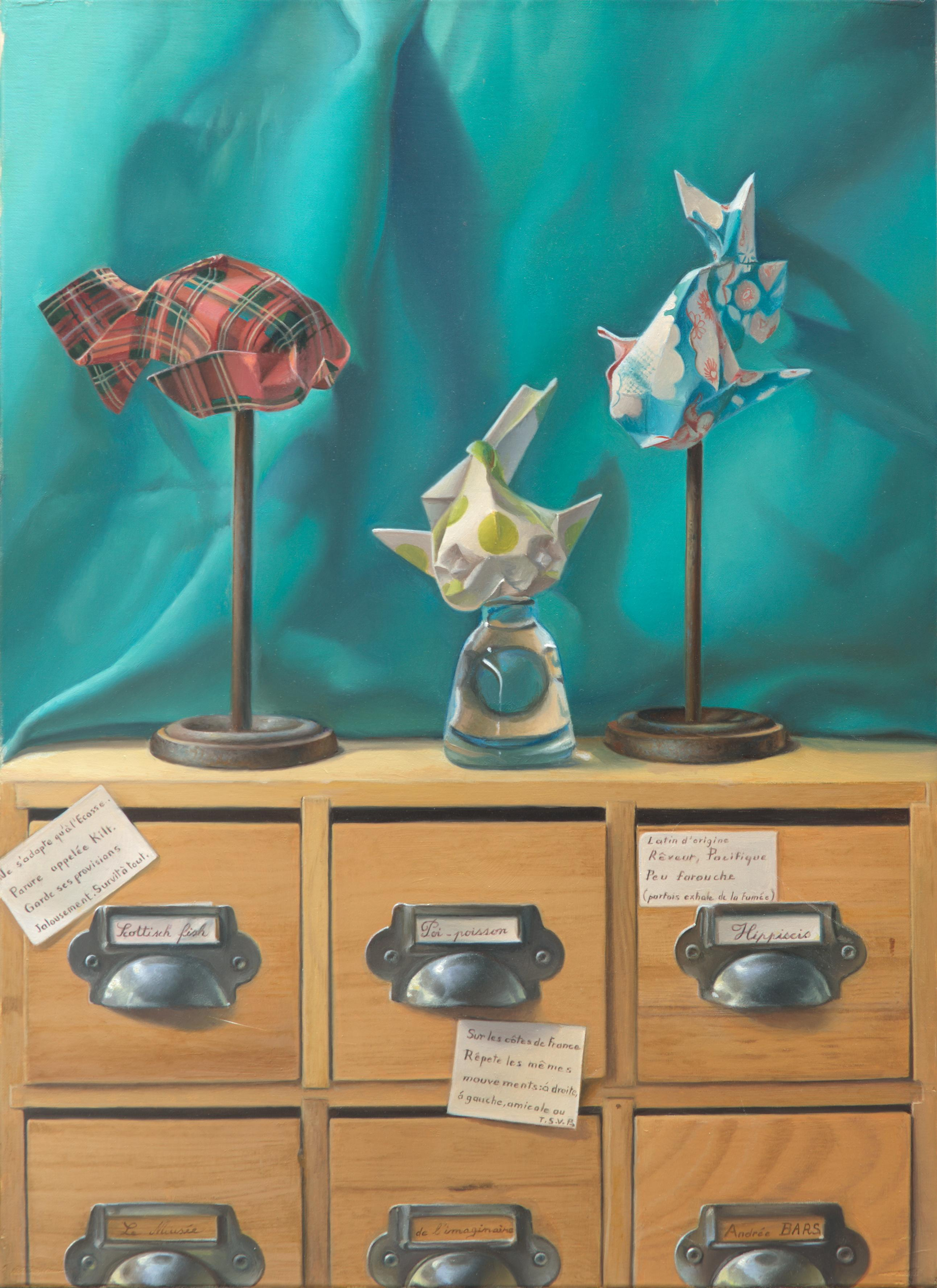 """""""Imaginary Museum of Origami Fishes"""", Symbolism Oil Painting for Child's Room"""