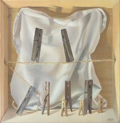 """The Tightrope Walkers"", Clothes Pins' Performance, Symbolist Oil Painting"